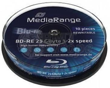 Blu-ray Disc 2X 25Gb rewritable Mediarange 10 stuks
