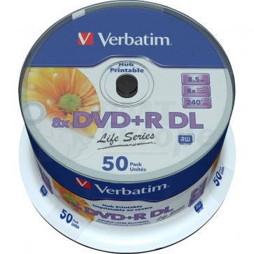 DVD+R 8.5GB 8X Verbatim double layer 50 pieces full white inkjet printable