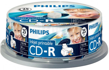 CD-R 80min 52X Philips 25 pieces full white inkjet printable Cakebox