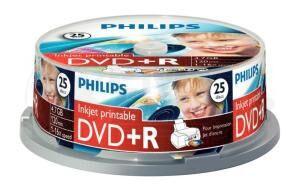 DVD+R 4.7GB 16X Philips 25 pieces full white inkjet printable Cakebox