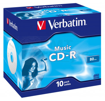 CD-R 80min AUDIO Verbatim 10 pieces full white inkjet printable