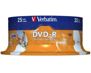 DVD-R 4.7GB 16X Verbatim 25 pieces full white inkjet printable