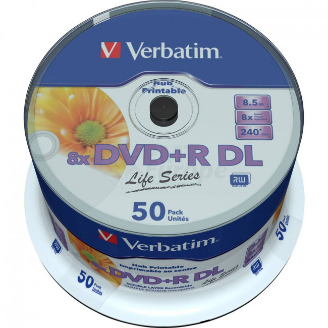photograph about Verbatim Printable Dvd R identify DVD+R 8.5GB 8X Verbatim double layer 50 components entire white inkjet printable
