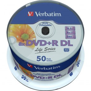 DVD+R 8.5GB 8X Verbatim double layer 50 pieces full white inkjet printable