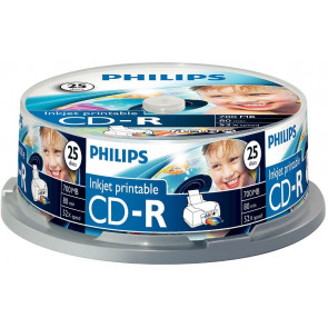 CD-R 80min 52X Philips 25 pieces full white inkjet printable Cakebox