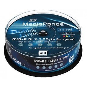 DVD+R 8.5GB 8X Mediarange double layer 25 pieces white inkjet printable