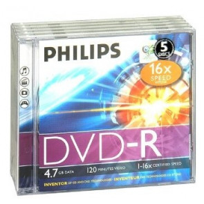 DVD-R 4.7GB 16X Philips 5 pieces jewelcase