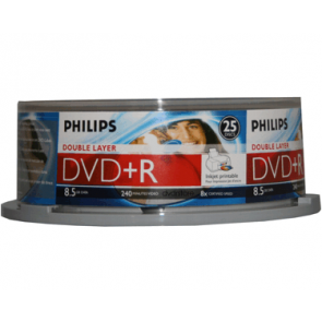 DVD+R 8.5GB 8X Philips double layer 25 pieces white inkjet printable