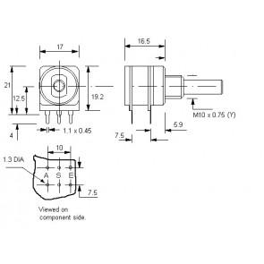 Potentiometer 10KA (Lin) + 1KC (anti log) Center lock D-shaft 4mm for Eela audio mixers