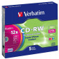 CD-RW 80 min 12 X Verbatim 5 pieces in slimcase (43167)